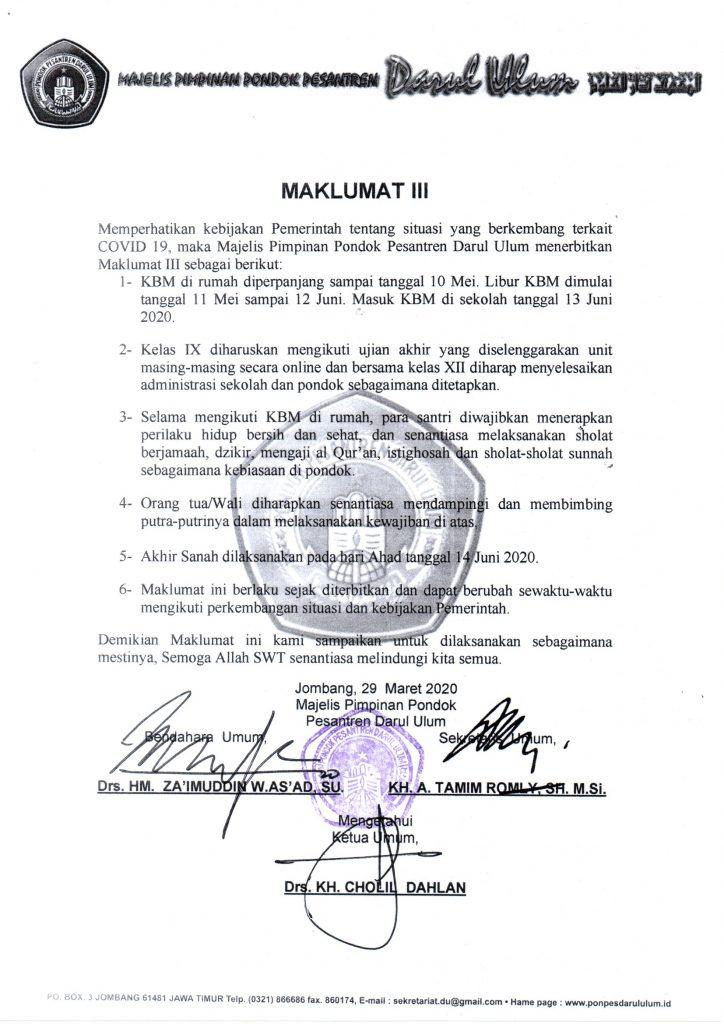 maklumat III ponpes Darul Ulum